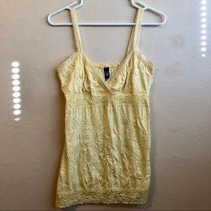 Windsor Yellow Lace Trim Crinkle Tank Top